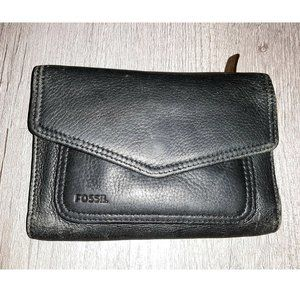 Fossil Genuine Leather Black Small Trifold Wallet